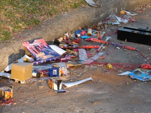 From past performances - they will leave the trash here until the weather blows it away or it is washed into the storm drains.